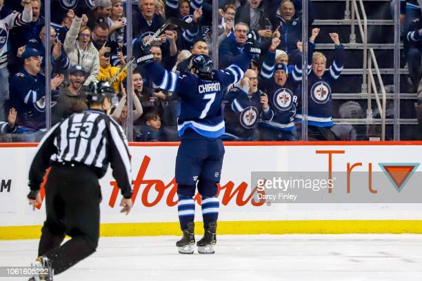 Ben Chiarot of the Winnipeg Jets celebrates his third period goal against the Washington Capitals at the Bell MTS Place on November 14 2018 in...