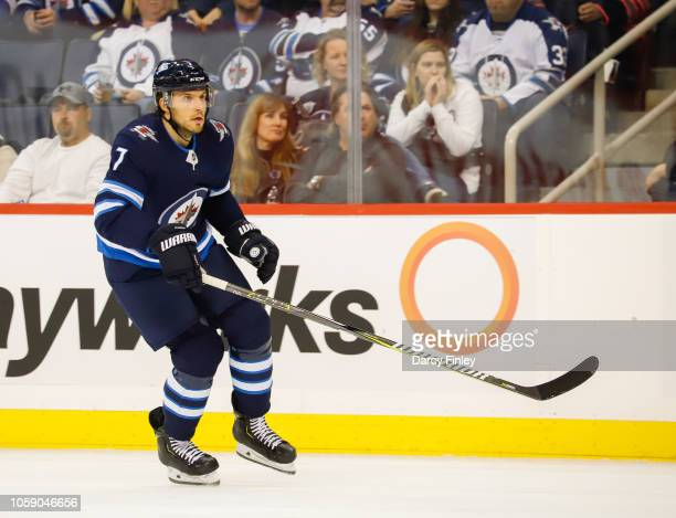 Ben Chiarot of the Winnipeg Jets follows the play up the ice during first period action against the St Louis Blues at the Bell MTS Place on October...
