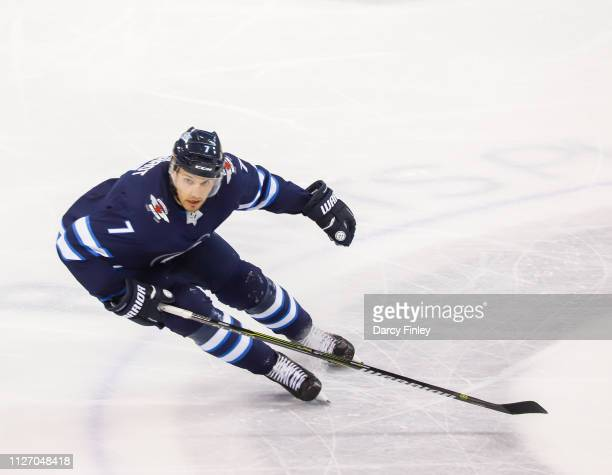 Ben Chiarot of the Winnipeg Jets follows the play up the ice during second period action against the Columbus Blue Jackets at the Bell MTS Place on...
