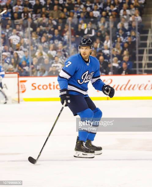 Ben Chiarot of the Winnipeg Jets keeps an eye on the play during second period action against the St Louis Blues at the Bell MTS Place on December 7...