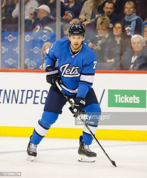 Ben Chiarot of the Winnipeg Jets keeps an eye on the play during third period action against the St Louis Blues at the Bell MTS Place on December 7...