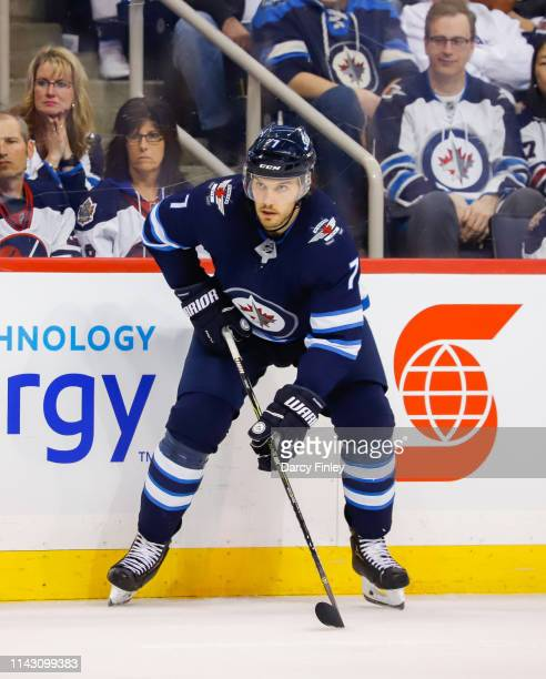 Ben Chiarot of the Winnipeg Jets keeps an eye on the play during second period action against the St Louis Blues in Game Two of the Western...