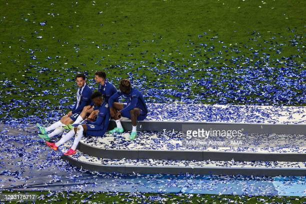 Ben Chillwell, Mason Mount, Callum Hudson-Odoi and Tammy Abraham of Chelsea during the UEFA Champions League Final between Manchester City and...