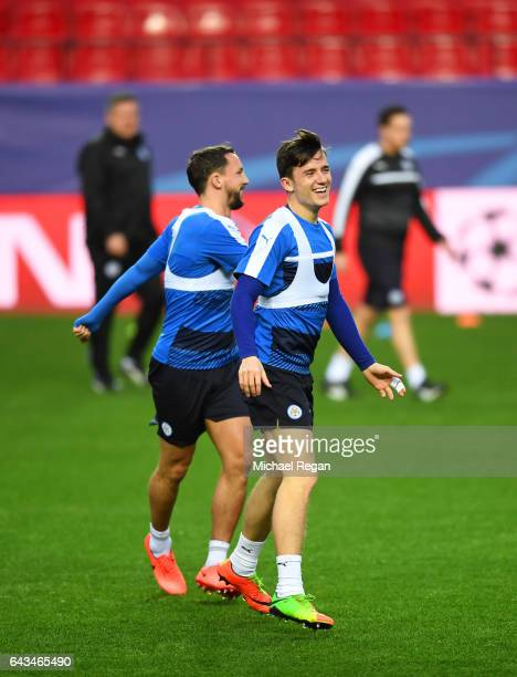 Ben Chilwell and Daniel Drinkwater of Leicester City take part in a training session ahead of the UEFA Champions League roundof16 first leg against...