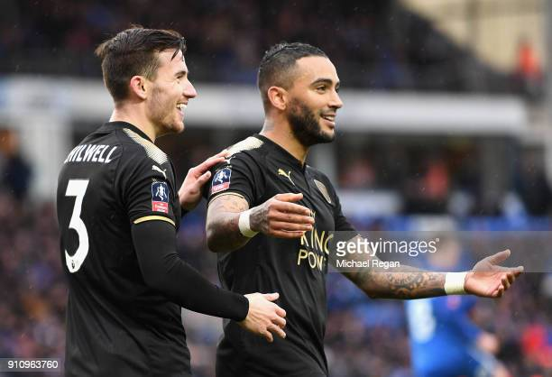 Ben Chilwell and Danny Simpson of Leiceter City celebrate during The Emirates FA Cup Fourth Round match between Peterborough United and Leicester...
