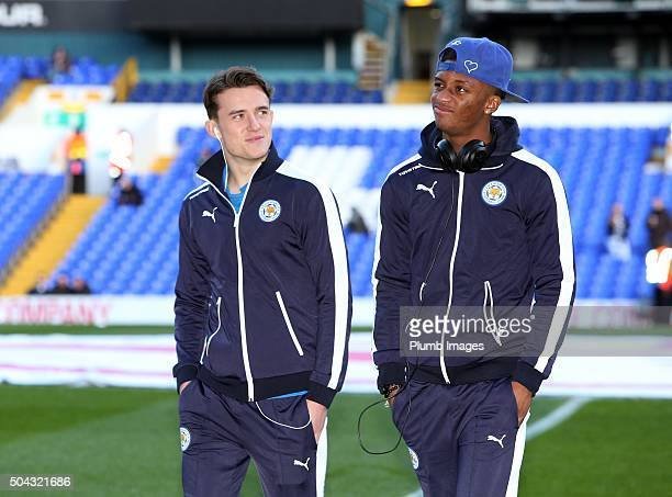 Ben Chilwell and Demarai Gray of Leicester City ahead of the FA Cup third round match between Tottenham Hotspur and Leicester City at White Hart Lane...