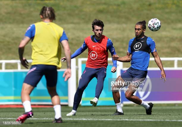 Ben Chilwell and Dominic Calvert-Lewin of England in action during the England Training Session at St George's Park on June 15, 2021 in Burton upon...