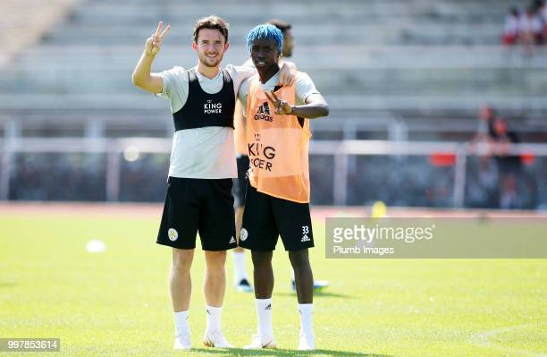 Ben Chilwell and Fousenni Diabate during the Leicester City preseason training camp on July 13 2018 in Evian France
