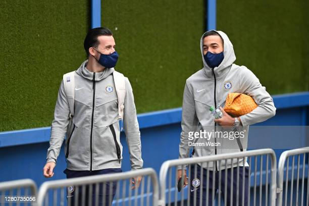Ben Chilwell and Hakim Ziyech of Chelsea arrive at the stadium prior to the Premier League match between Chelsea and Southampton at Stamford Bridge...