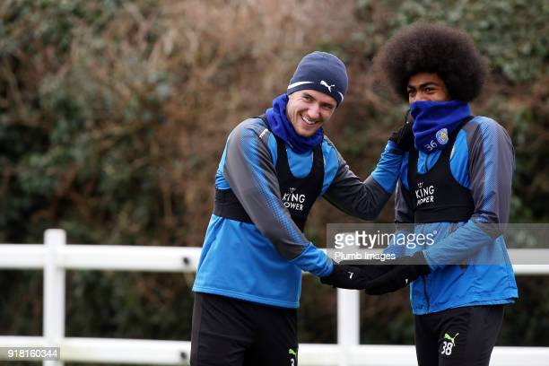 Ben Chilwell and Hamza Choudhury during the Leicester City training session at Belvoir Drive Training Complex on February 14 2018 in Leicester United...
