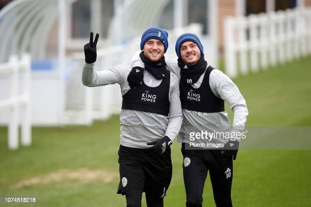 Ben Chilwell and James Maddison during the Leicester City training session at Belvoir Drive Training Complex on December 21 2018 in Leicester United...