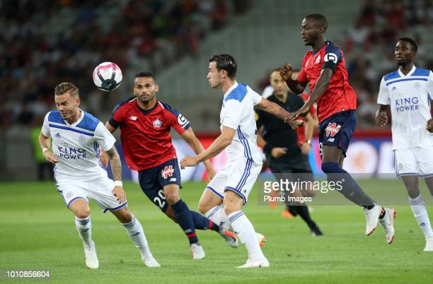 Ben Chilwell and James Maddison of Leicester City in action with Nicolas Pepe and Thiago Maia of Lille during the preseason friendly match between...
