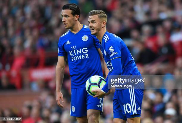 Ben Chilwell and James Maddison of Leicester look on during the Premier League match between Manchester United and Leicester City at Old Trafford on...