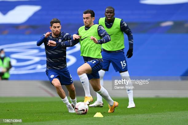 Ben Chilwell and Jorginho of Chelsea warm up prior to the Premier League match between Chelsea and Southampton at Stamford Bridge on October 17 2020...