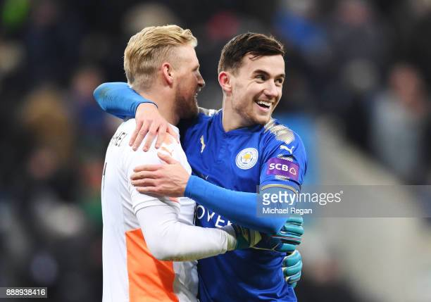 Ben Chilwell and Kasper Schmeichel of Leicester City celebrates after the Premier League match between Newcastle United and Leicester City at St...