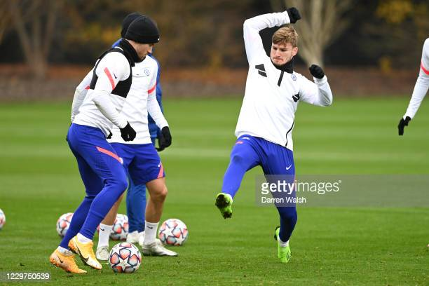 Ben Chilwell and Timo Werner of Chelsea during a training session ahead of the UEFA Champions League Group E stage match between Chelsea FC and FC...