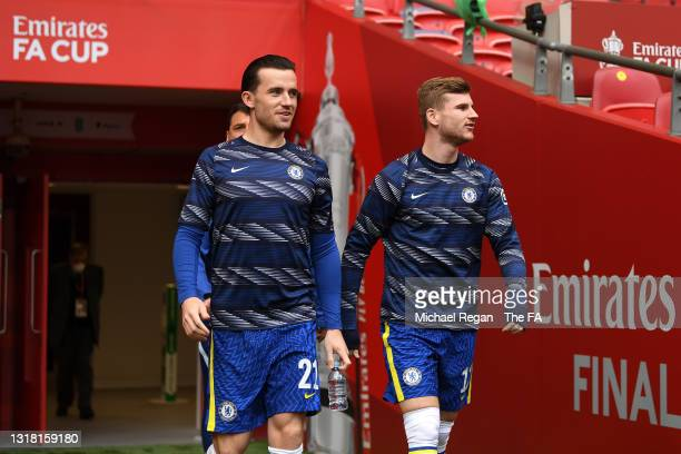 Ben Chilwell and Timo Werner of Chelsea walk out for the warm up prior to The Emirates FA Cup Final match between Chelsea and Leicester City at...