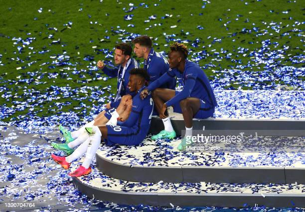 Ben Chilwell, Callum Hudson-Odoi, Mason Mount and Tammy Abraham of Chelsea celebrate on the podium during the UEFA Champions League Final between...