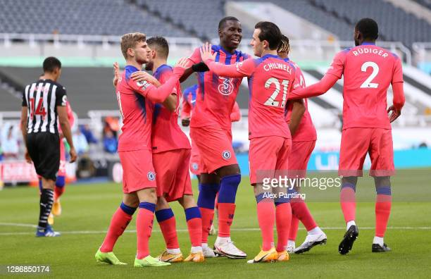 Ben Chilwell, Kurt Zouma, Timo Werner of Chelsea and teammates celebrate after their team's first goal, an own goal scored by Federico Fernandez of...