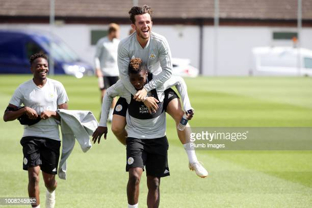 Ben Chilwell leaps on Kelechi Ihenacho during the Leicester City training session at Belvoir Drive Training Complex on July 31, 2018 in Leicester,...