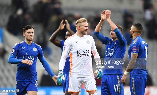 Ben Chilwell Marc Albrighton Danny Simpson and Kasper Schmeichel of Leicester City celebrates after the Premier League match between Newcastle United...