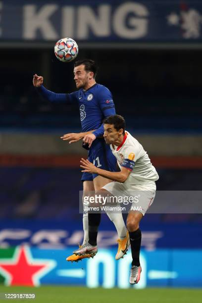 Ben Chilwell of Chelsea and Jesus Navas of Sevilla during the UEFA Champions League Group E stage match between Chelsea FC and FC Sevilla at Stamford...