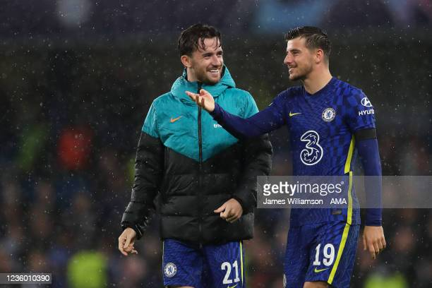 Ben Chilwell of Chelsea and Mason Mount of Chelsea at full time of the UEFA Champions League group H match between Chelsea FC and Malmo FF at...
