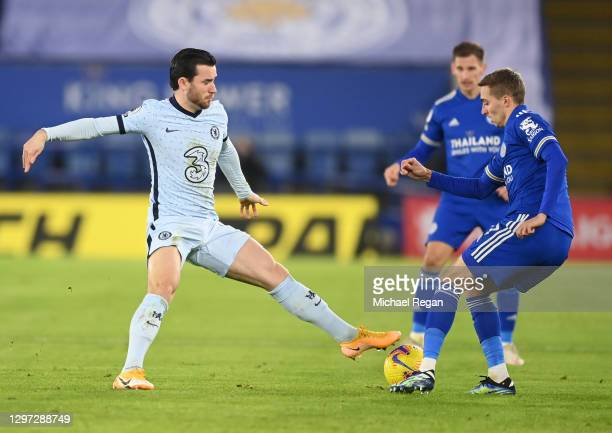 Ben Chilwell of Chelsea and Timothy Castagne of Leicester City battle for possession during the Premier League match between Leicester City and...