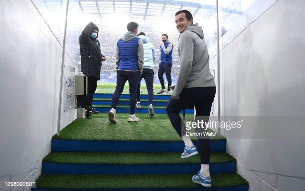 Ben Chilwell of Chelsea arrives at the stadium prior to The Emirates FA Cup Fourth Round match between Chelsea and Luton Town at Stamford Bridge on...