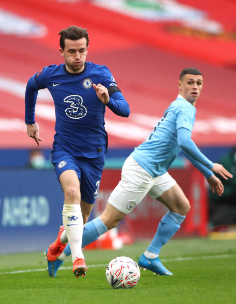 Ben Chilwell of Chelsea beats Phil Foden of Manchester City during the Semi Final of the Emirates FA Cup match between Manchester City and Chelsea FC...