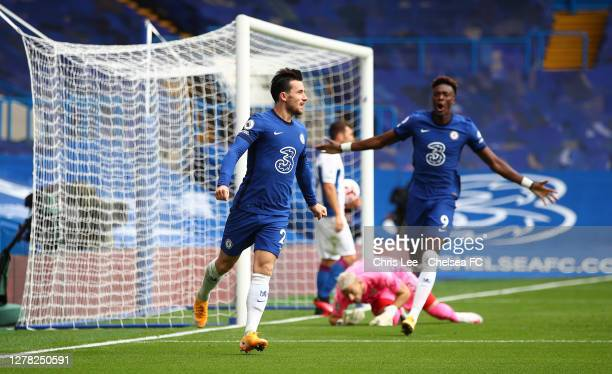 Ben Chilwell of Chelsea celebrates after scoring his sides first goal during the Premier League match between Chelsea and Crystal Palace at Stamford...