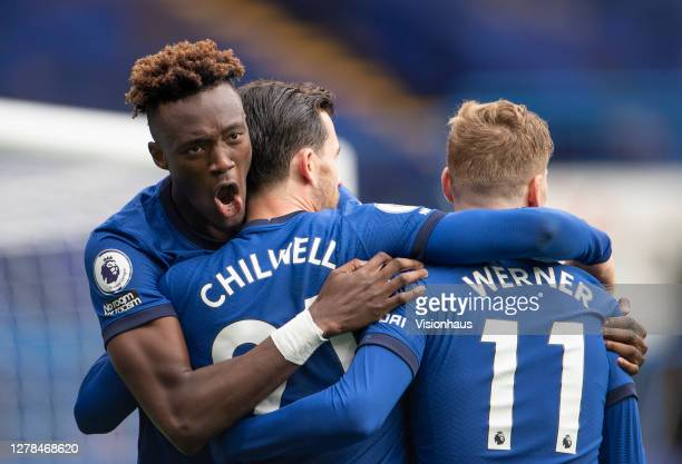 Ben Chilwell of Chelsea celebrates his goal with Tammy Abraham and Timo Werner during the Premier League match between Chelsea and Crystal Palace at...