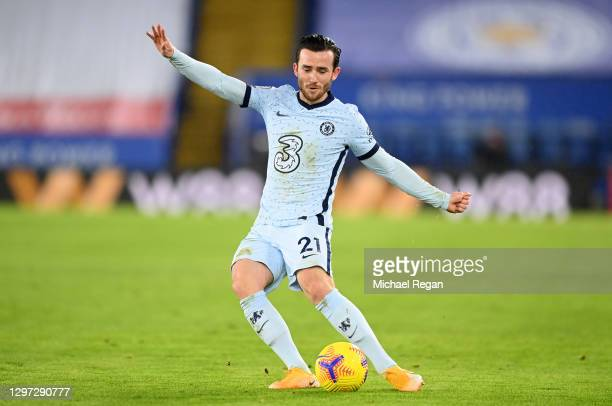 Ben Chilwell of Chelsea during the Premier League match between Leicester City and Chelsea at The King Power Stadium on January 19, 2021 in...