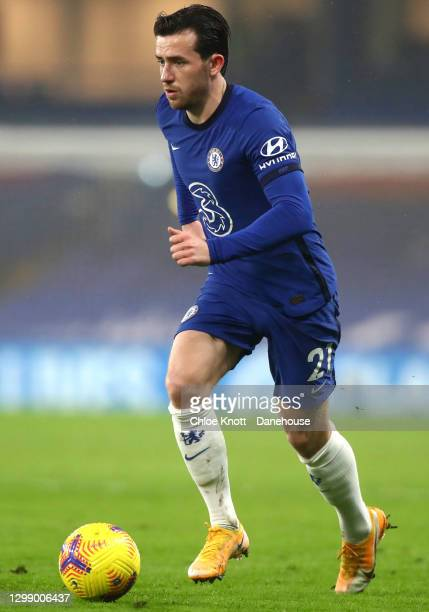 Ben Chilwell of Chelsea FC during the Premier League match between Chelsea and Wolverhampton Wanderers at Stamford Bridge on January 27, 2021 in...