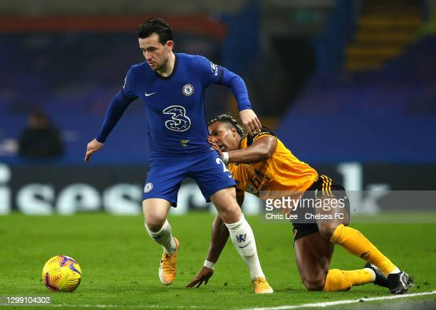 Ben Chilwell of Chelsea gets away from Adama Traore of Wolves during the Premier League match between Chelsea and Wolverhampton Wanderers at Stamford...
