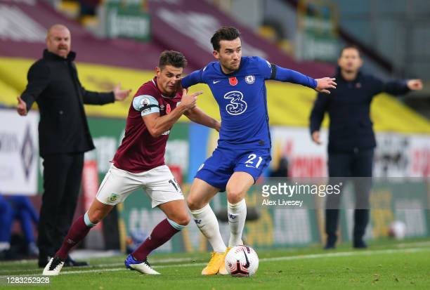 Ben Chilwell of Chelsea holds off Ashley Westwood of Burnley during the Premier League match between Burnley and Chelsea at Turf Moor on October 31...