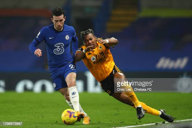 Ben Chilwell of Chelsea is challenged by Adama Traore of Wolverhampton Wanderers during the Premier League match between Chelsea and Wolverhampton...