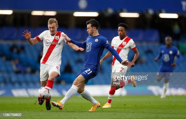 Ben Chilwell of Chelsea is challenged by James WardProwse of Southampton during the Premier League match between Chelsea and Southampton at Stamford...