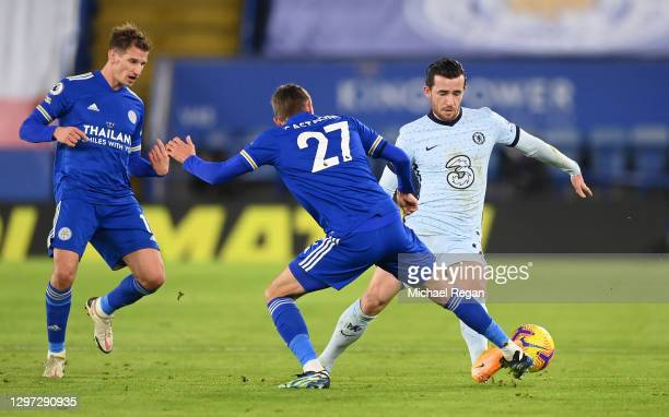 Ben Chilwell of Chelsea is challenged by Timothy Castagne of Leicester City during the Premier League match between Leicester City and Chelsea at The...