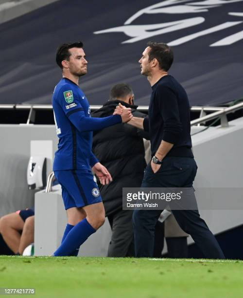 Ben Chilwell of Chelsea is greeted by Frank Lampard Manager of Chelsea as she is substituted off during the Carabao Cup fourth round match between...