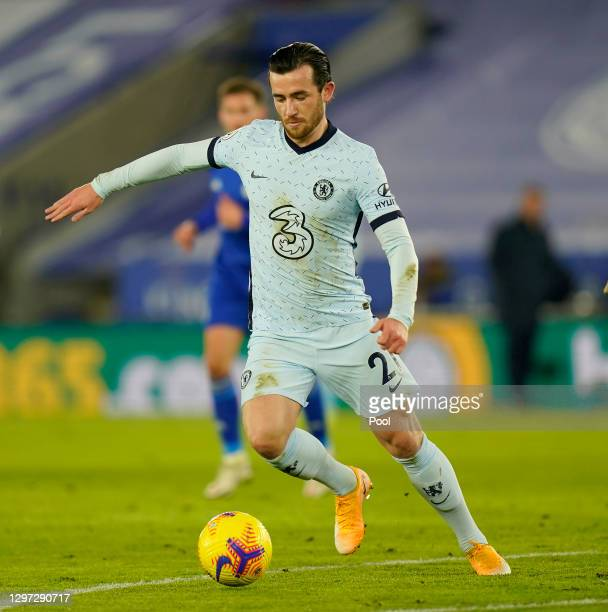 Ben Chilwell of Chelsea looks for a pass during the Premier League match between Leicester City and Chelsea at The King Power Stadium on January 19,...