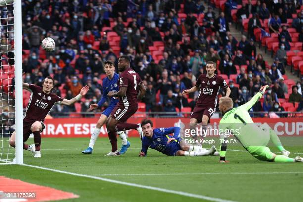Ben Chilwell of Chelsea looks on after his effort is cleared by Caglar Soyuncu into Wes Morgan of Leicester City resulting in a goal that was later...