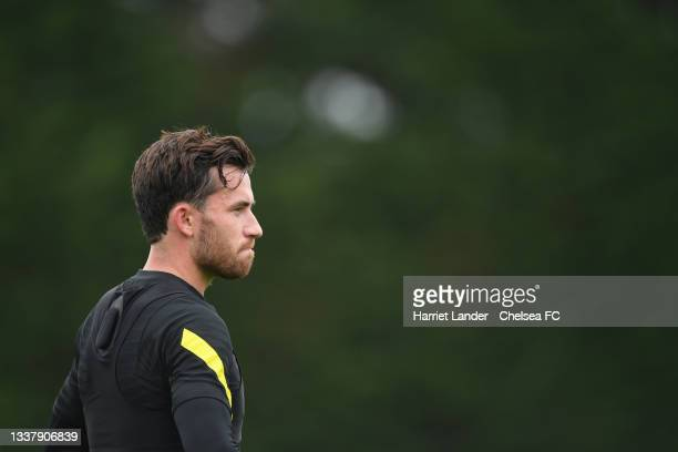 Ben Chilwell of Chelsea looks on during a Chelsea FC Training Session at Chelsea Training Ground on September 02, 2021 in Cobham, England.