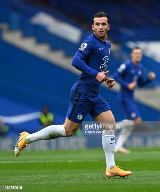 Ben Chilwell of Chelsea looks on during the Premier League match between Chelsea and Southampton at Stamford Bridge on October 17 2020 in London...