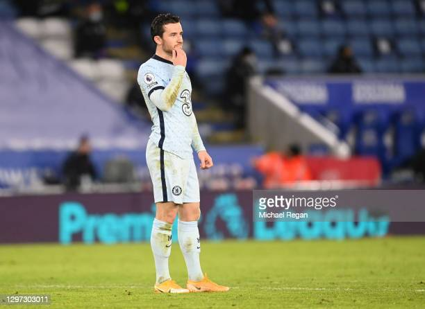 Ben Chilwell of Chelsea looks on during the Premier League match between Leicester City and Chelsea at The King Power Stadium on January 19, 2021 in...