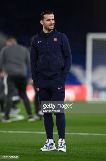 Ben Chilwell of Chelsea looks on prior to the UEFA Champions League Group E stage match between Chelsea FC and FC Sevilla at Stamford Bridge on...