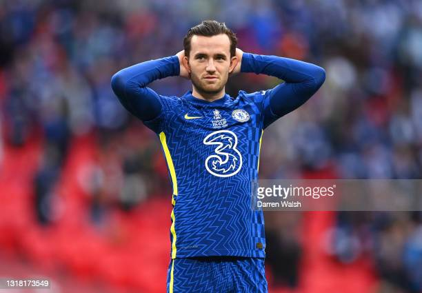 Ben Chilwell of Chelsea reacts during The Emirates FA Cup Final match between Chelsea and Leicester City at Wembley Stadium on May 15, 2021 in...