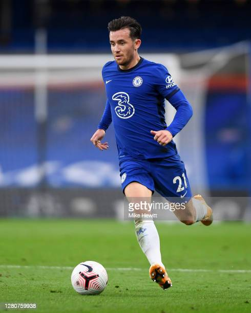Ben Chilwell of Chelsea runs with the ball during the Premier League match between Chelsea and Southampton at Stamford Bridge on October 17 2020 in...