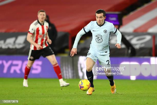 Ben Chilwell of Chelsea runs with the ball during the Premier League match between Sheffield United and Chelsea at Bramall Lane on February 07, 2021...