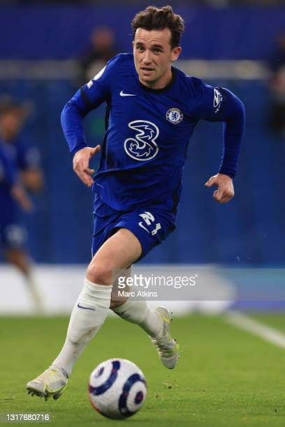 Ben Chilwell of Chelsea runs with the ball during the Premier League match between Chelsea and Arsenal at Stamford Bridge on May 12, 2021 in London,...